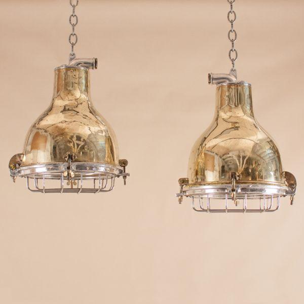 Pair of Mid-Century Nautical Brass Ship's Pendant Lights