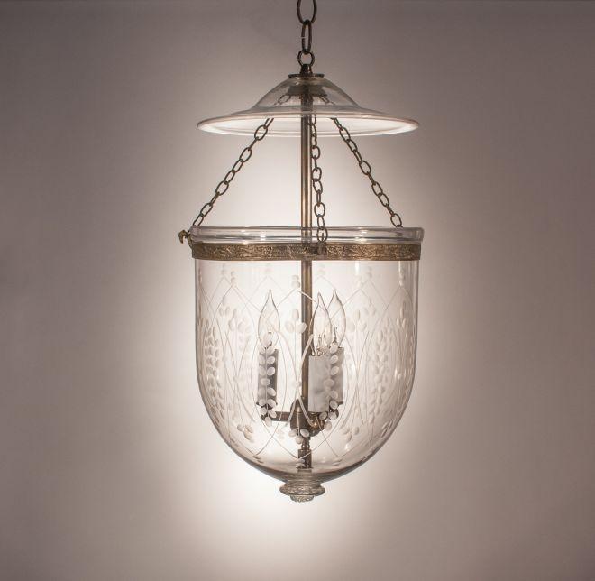 Antique English Bell Jar Hall Lantern Pendant Light With
