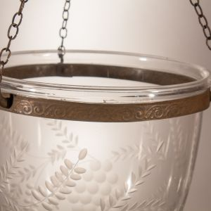 Antique Bell Jar Lantern with Grape Etching
