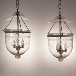 Pair of Petite Antique Bell Jar Lanterns with Federal Etching