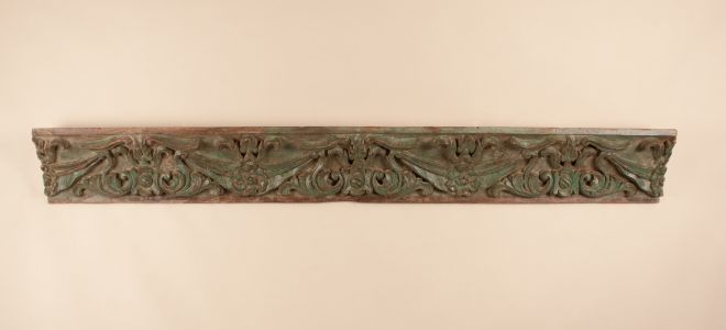 19th Century Carved, Painted Teak Wood Panel from India