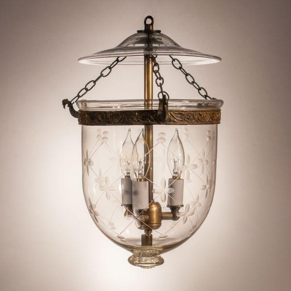 Petite Antique Bell Jar Lantern with Trellis Etching