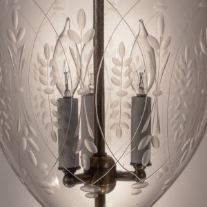 Antique Bell Jar Lantern with Wheat Etching
