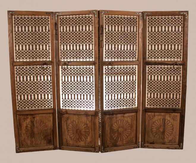 Teak Wood and Iron Four Panel Screen from India