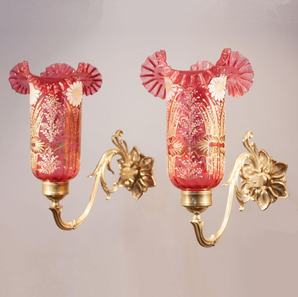 Pair of Cranberry Painted Hurricane Shade Wall Sconces