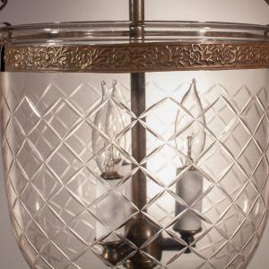 Antique Bell Jar Lantern with Diamond Cut Glass Etching
