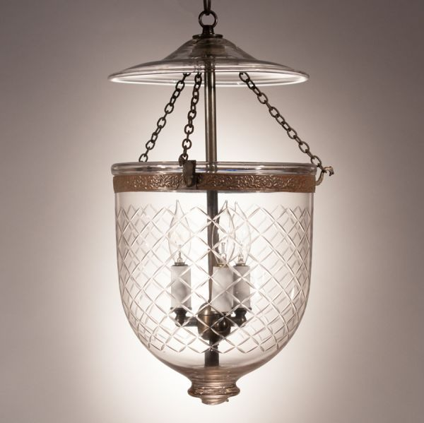 Antique Bell Jar Lantern with Diamond Cut Glass Etching