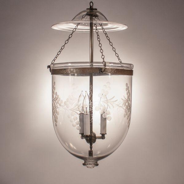 Large Antique Bell Jar Lantern with Vine Etching