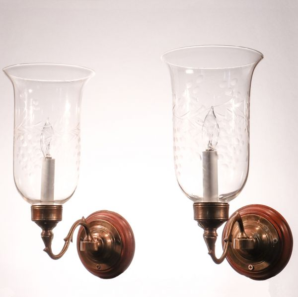 Pair of Antique Hurricane Shade Wal Sconces with Vine and Berry Etching