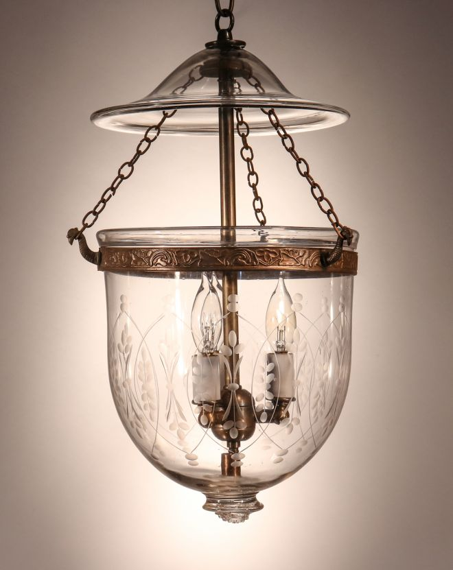Petite Antique Bell Jar Lantern with Wheat Etching