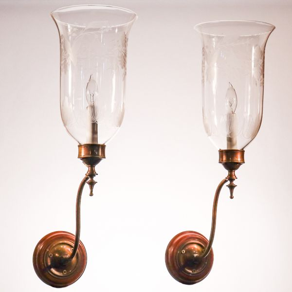 Pair of Antique English Hurricane Shade Wall Sconces with Flower and Leaf Etching