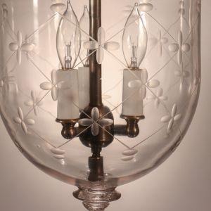 Antique Bell Jar Lantern with Trellis Etching