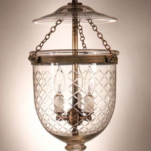 Antique Petite Bell Jar Lantern with Diamond Etching