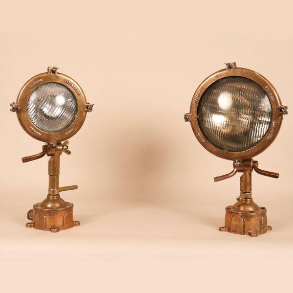 Set of Vintage Brass Industrial Maritime Lanterns