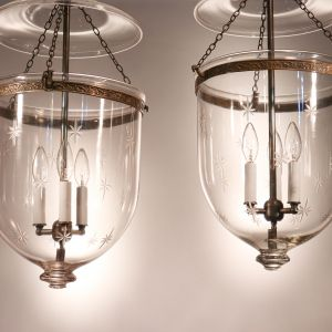 Pair of Antique Bell Jar Lanterns with Star Etching