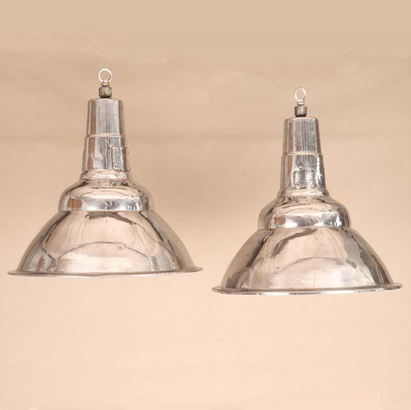 Pair of Vintage Industrial Aluminum Floodlight Pendants