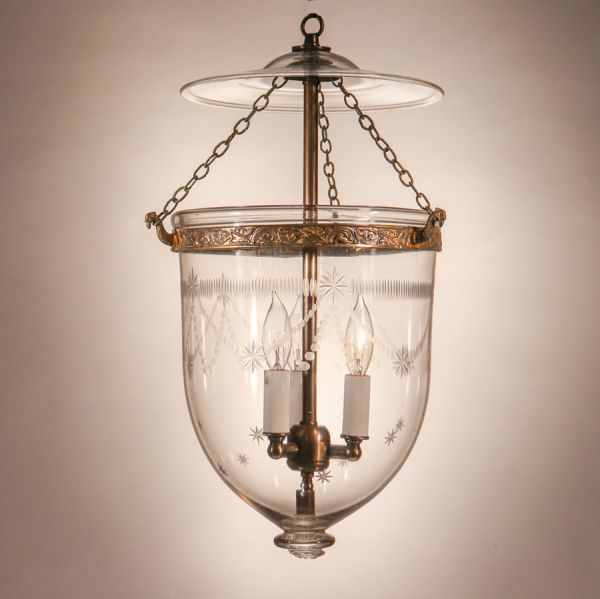 Antique Bell Jar Lantern with Federal-Style Etching