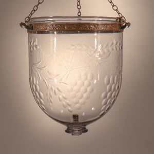 19th Century Bell Jar Lantern with Grape and Leaf Etching