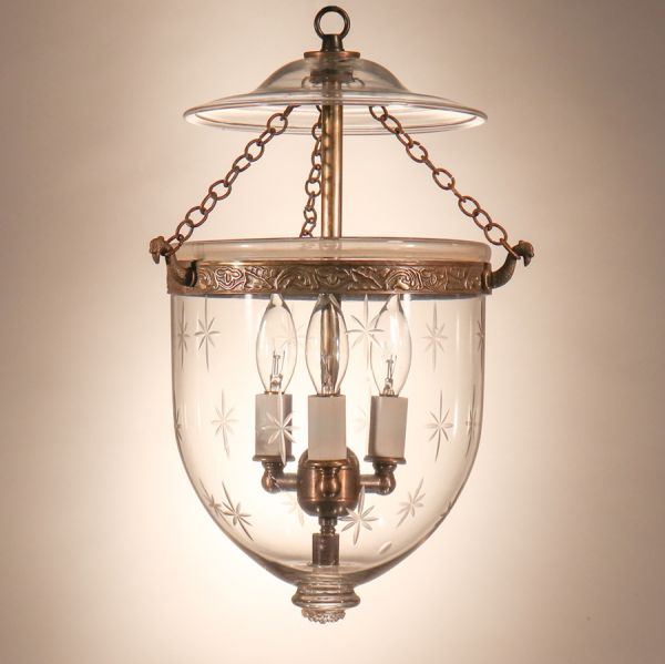 Antique Petite Bell Jar Lantern with Star Etching