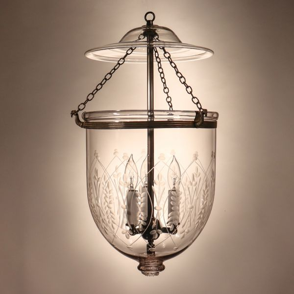 Antique Bell Jar Lantern with Etched Wheat Motif
