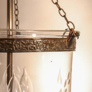 19th Century Bell Jar Lantern with Vine Etching