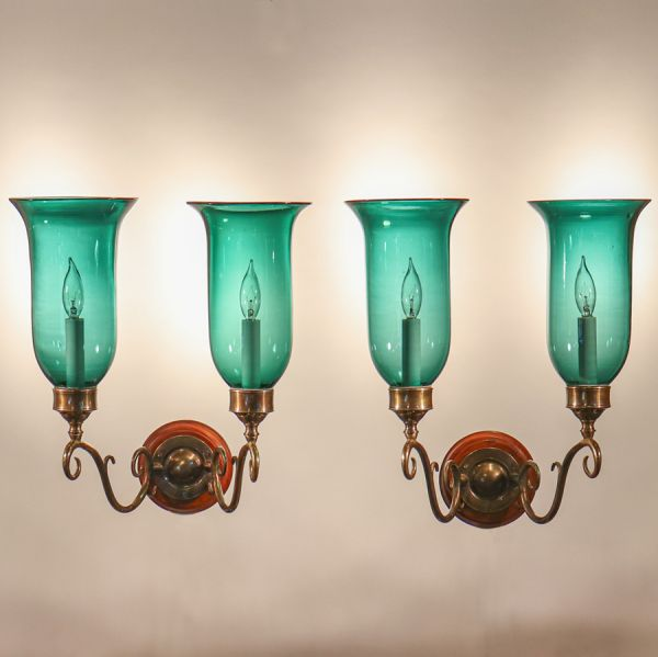 Pair of Antique Green Hurricane Shade Double Arm Sconces