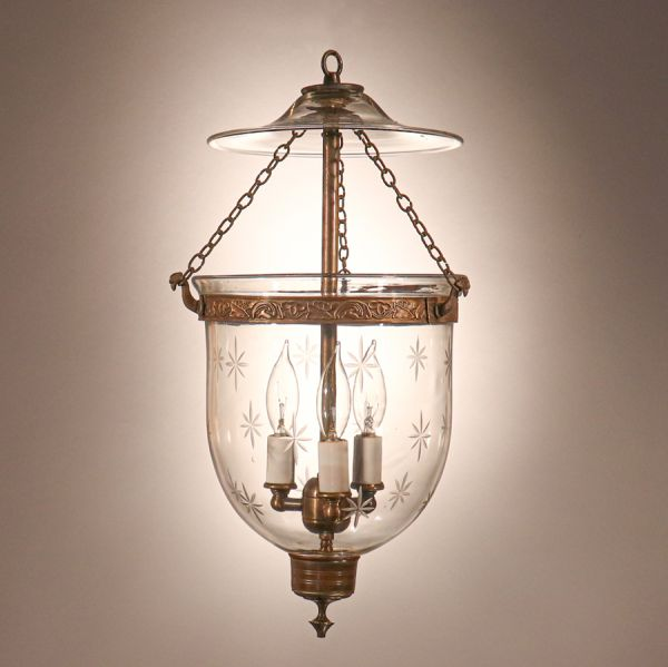 Petite Bell Jar Lantern with Star Etching