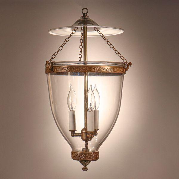 Antique Hand Blown Glass Bell Jar Lantern