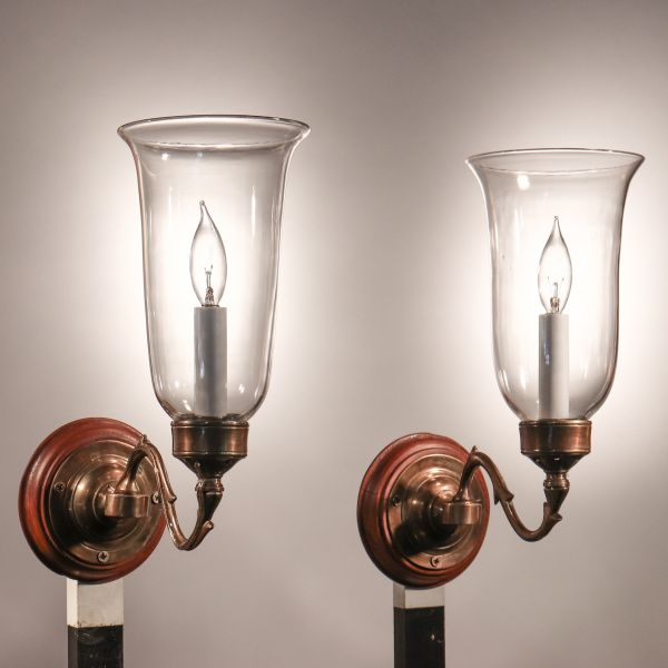 Pair of Antique Hurricane Shade Wall Sconces with Vine and Berry Etching