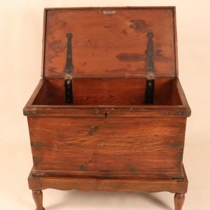 Antique British Colonial Campaign Storage Chest on Stand
