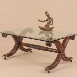 Anglo-indian Mahogany Coffee Table with Glass Top