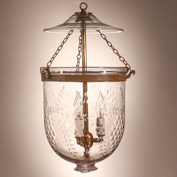 Antique Bell Jar Lantern with Grape and Vine Etching