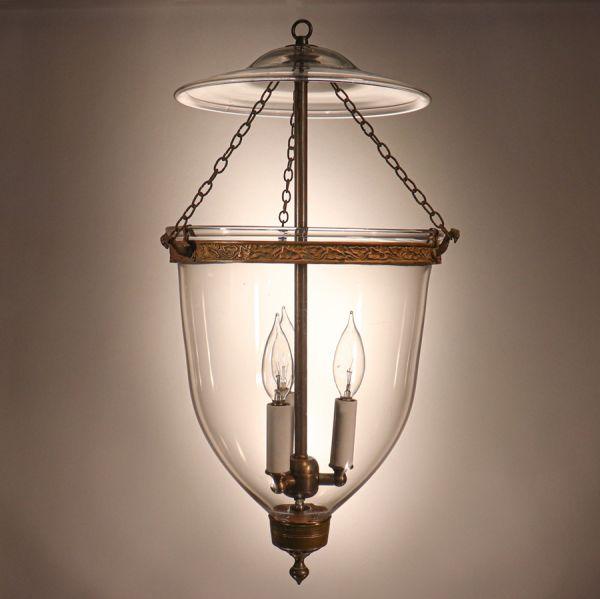 Antique English Hand Blown Glass Bell Jar Lantern