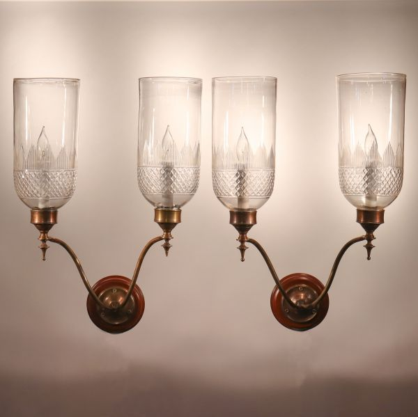 Pair of Antique Hurricane Shade Double-Arm Wall Sconces