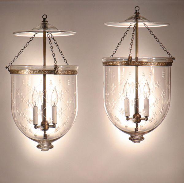 Pair of Antique Bell Jar Lanterns with Etched Trellis Motif