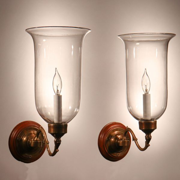 Pair of Antique Hurricane Shade Wall Sconces