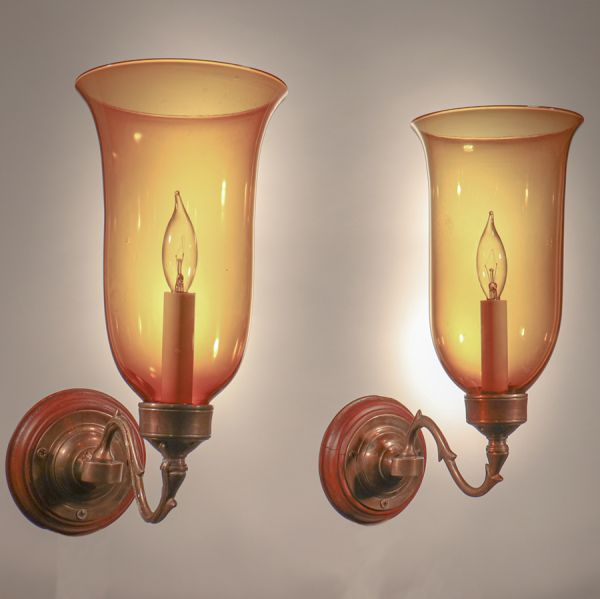 Pair of Antique Hurricane Shade Wall Scones with Amber Colored Glass