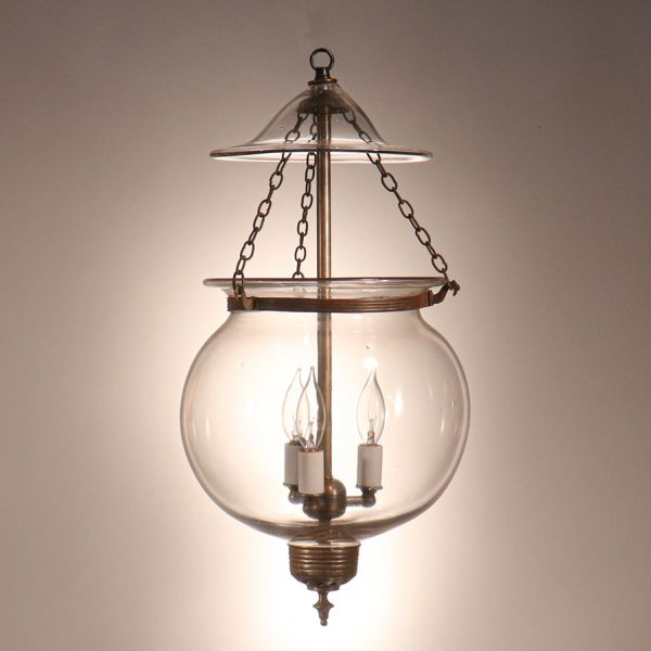 Antique Hand Blown Glass Globe Bell Jar Lantern