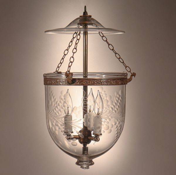 Antique Bell Jar Lantern with Floral Etching