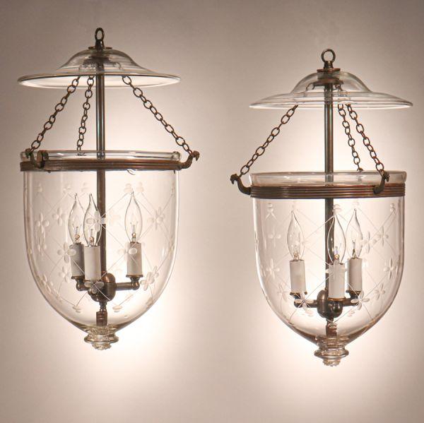 Pair of Antique Bell Jar Lanterns with Trellis Etching