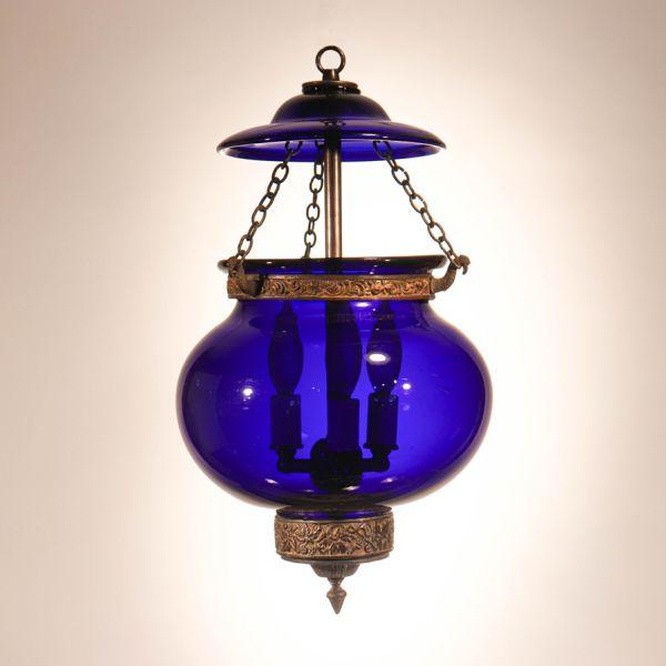 Antique Cobalt Blue Globe Bell Jar Lantern