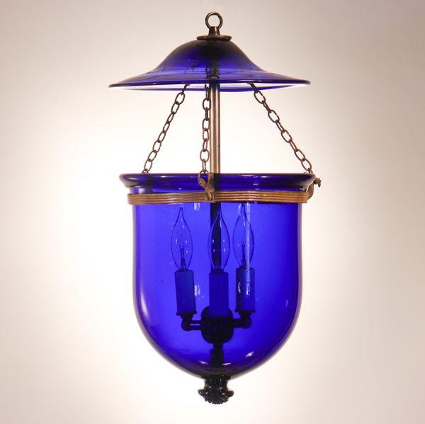 Antique Cobalt Blue Bell Jar Lantern
