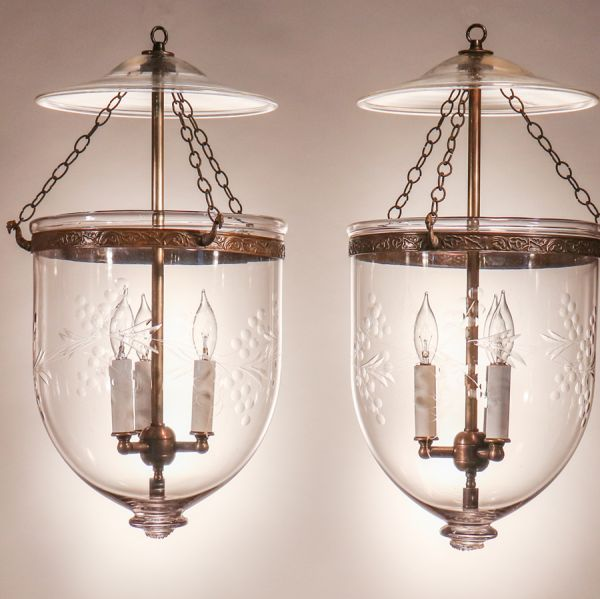 Pair of Antique Bell Jar Lanterns with Vine Etching