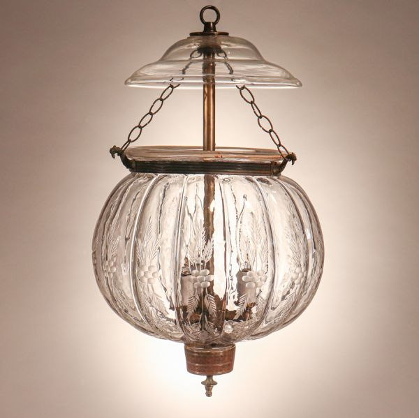 Antique Melon Bell Jar Lantern with Floral Etching