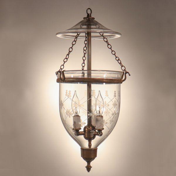 Antique Petite Bell Jar Lantern with Trellis Etching