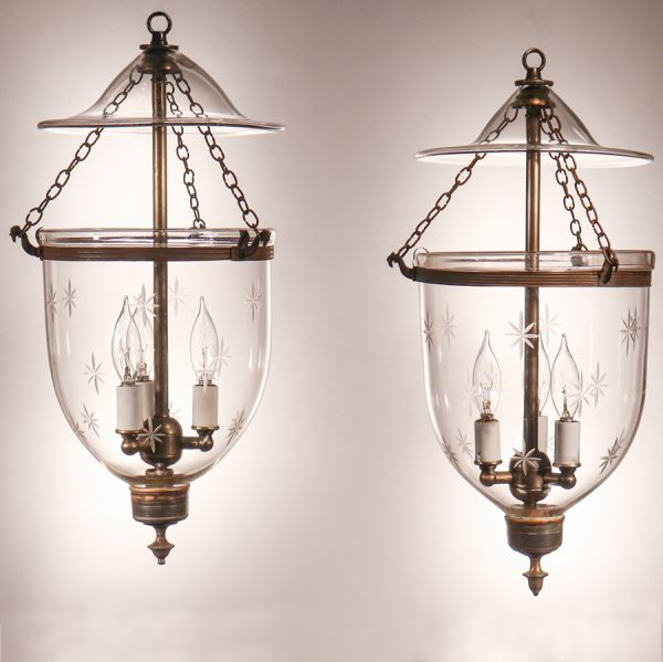 Pair of Petite Bell Jar Lanterns with Star Etching