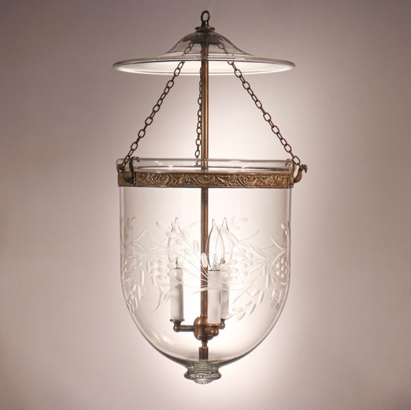 Antique Bell Jar Lantern with Vine and Berry Etching