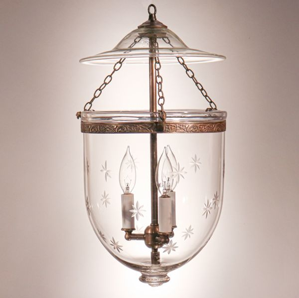 Antique Bell Jar Lantern with Etched Stars