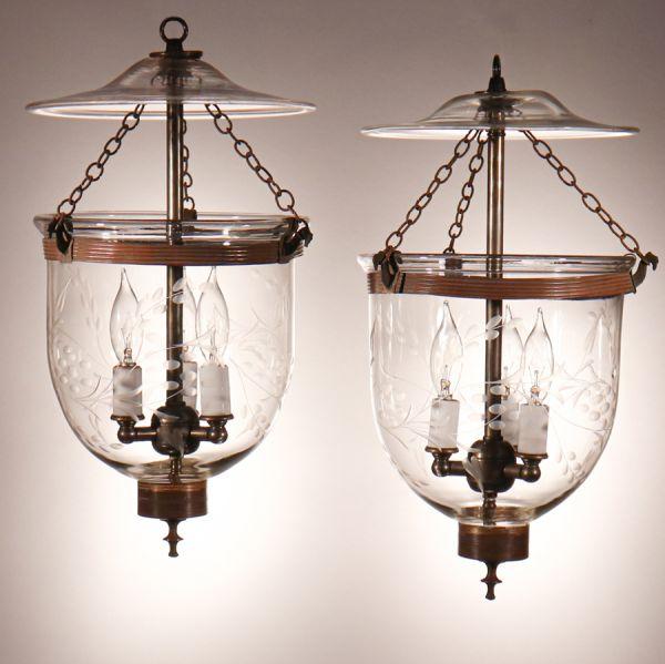 Pair of Antique Petite Bell Jar Lanterns with Vine Etching