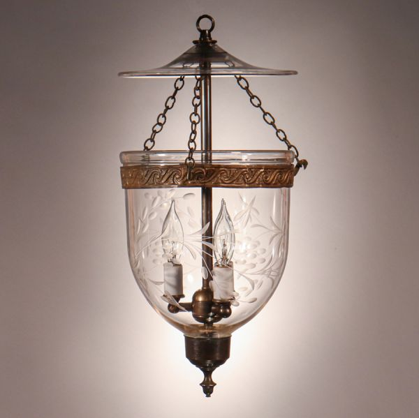 Antique Petite Bell Jar Lantern with Vine Etching